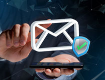 Approved and verified Email symbol displayed on a futuristic int. View of a Approved and verified Email symbol displayed on a futuristic interface - Message and Royalty Free Stock Photo