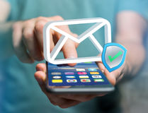 Approved and verified Email symbol displayed on a futuristic int. View of a Approved and verified Email symbol displayed on a futuristic interface - Message and Stock Images