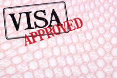 Approved visa document stamp passport page, copy space Stock Photography