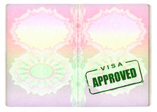 Approved Visa on Passport. Approved Green Visa Stamp on Passport pages