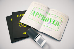 Approved visa. Passport with green approved visa stamp on grey background. Topview. Travel concept, 3D Rendering Stock Photography