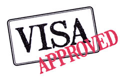 Approved visa passport rubber stamp isolated on white background. Approved visa passport rubber stamp isolated on white royalty free stock photo