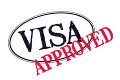 Approved visa passport rubber stamp isolated on white background Royalty Free Stock Image