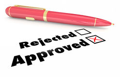 Approved Vs Rejected Checklist Box Mark Pen. 3d Illustration Stock Images