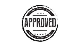 Approved warranty. Icon grunge vintage retro rubber stamp Stock Photo