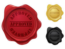 Approved wax seal stamps. Set of three approved wax seal stamps.  Please check my portfolio for more wax seal illustrations Stock Photography