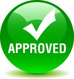Approved web button. Tick - vector illustration on isolated white background royalty free illustration