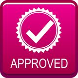 Approved web button stock illustration