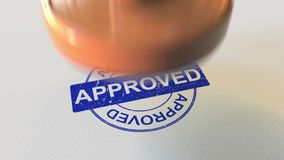 APPROVED wooden stamp. 3D rendering. APPROVED wooden stamp 3D rendering Royalty Free Stock Photo