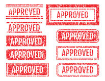 Approved Word Rubber Stamps Grunge Style Set Royalty Free Stock Image