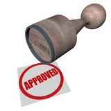 Approved. Word approved stamped in red by a wooden stamp, 3d render Stock Photo