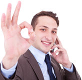 Approving the good news on the phone Royalty Free Stock Photo