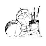 Approvisionnements d'école Illustration tirée par la main sur le fond blanc Images stock