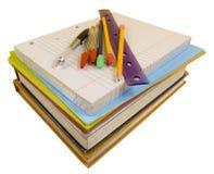 Approvisionnements d'école sur le blanc avec le chemin Images stock