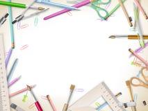 Approvisionnements d'école sur le blanc ENV 10 Photo stock