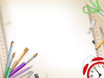 Approvisionnements d'école sur le blanc ENV 10 Images stock