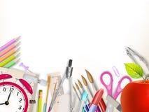 Approvisionnements d'école sur le blanc ENV 10 Image libre de droits
