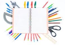 Approvisionnements d'école sur le fond blanc Image libre de droits