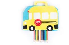 Approvisionnements d'école sur le fond blanc Photos stock