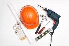 Approvisionnements d'outils, fond de blanc des accessoires de l'ouvrier Images libres de droits