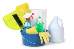 approvisionnements de ménage de nettoyage images stock