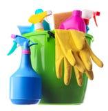 approvisionnements de nettoyage de vert de position photographie stock libre de droits