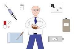 Approvisionnements de pharmacien et de pharmacie Photographie stock libre de droits