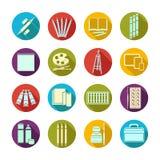 Approvisionnements plats réglés d'art d'icônes Matériaux multicolores d'art d'icône dans un cadre rond avec l'ombre biseautée Mar Photos stock