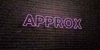 APPROX -Realistic Neon Sign on Brick Wall background - 3D rendered royalty free stock image Royalty Free Stock Photography