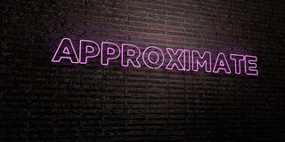 APPROXIMATE -Realistic Neon Sign on Brick Wall background - 3D rendered royalty free stock image Royalty Free Stock Photos