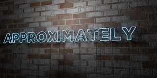 APPROXIMATELY - Glowing Neon Sign on stonework wall - 3D rendered royalty free stock illustration. Can be used for online banner ads and direct mailers Stock Photos