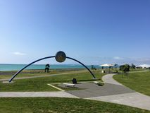 The approximately 3km stretch of iconic seafront called Marine Parade, which connects Napier with the Pacific Ocean stock photo