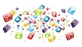 apps全球图标移动电话飞溅 库存图片