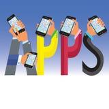 Apps à mão Imagens de Stock Royalty Free
