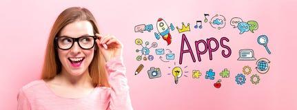 Apps με την ευτυχή νέα γυναίκα Στοκ εικόνες με δικαίωμα ελεύθερης χρήσης