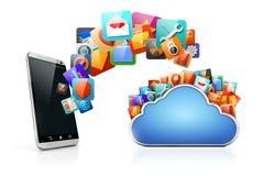 apps мобильного телефона 3d и облака Стоковая Фотография RF