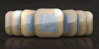 Apps монетки евро в подаче иллюстрация вектора