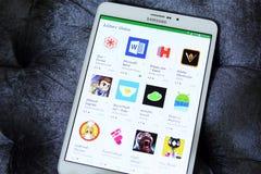 Apps редактора отборные в магазине игры Google Стоковое Изображение RF
