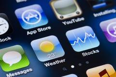 Apps экрана Iphone стоковые изображения rf