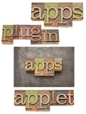 Apps (应用),接通,附属程序 免版税库存图片