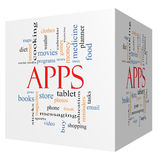 Apps 3D Cube Word Cloud Concept Stock Photography