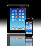 Apps abotona para el establecimiento de una red social en compu móvil stock de ilustración