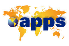 Apps or applications program. World map or globe with coloured land area and a flare background showing the America, Europe, Africa Asia and Australia sections Royalty Free Stock Image