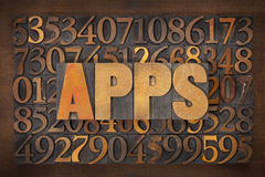 Apps (applications) word in wood type Royalty Free Stock Photo