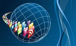 apps arround σφαιρικός κινητός τηλεφωνικός κόσμος εικονιδίων Στοκ φωτογραφία με δικαίωμα ελεύθερης χρήσης