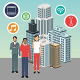 Apps avatars som bygger den smarta stadssymbolen som stylized swirlvektorn för bakgrund det dekorativa diagrammet vågr stock illustrationer