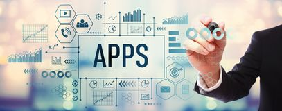 Apps avec l'homme d'affaires Illustration Stock