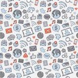 Apps azules, grises, rojos del móvil de la etiqueta engomada Foto de archivo