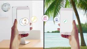 Apps che trasferisce da uno smartphone ad un altro stock footage