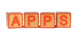 Apps - Colored Childrens Alphabet Blocks. Stock Photography